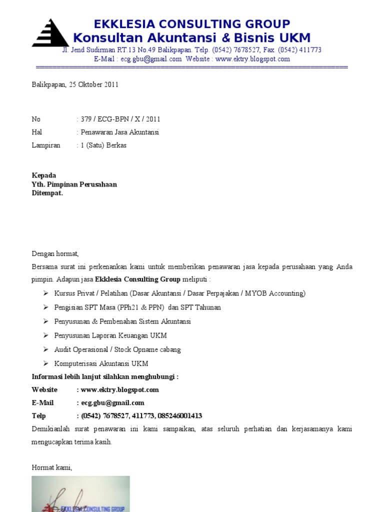 contoh surat penawaran jasa konsultan
