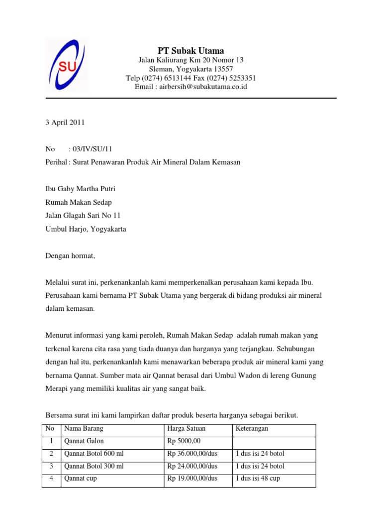 contoh surat penawaran produk makanan