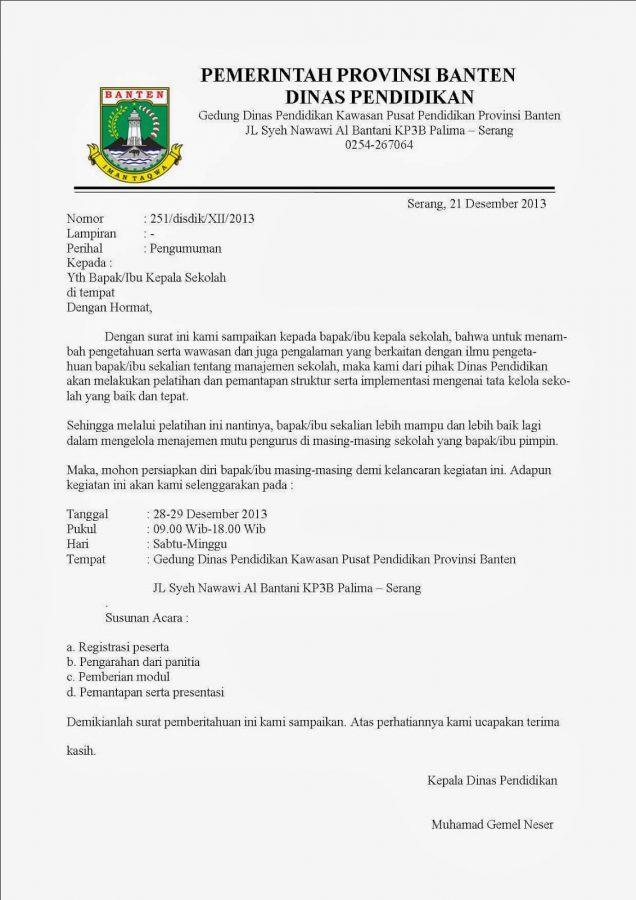 contoh surat resmi pemerintah