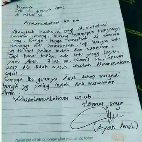 surat izin tulisan tangan ayah-amel